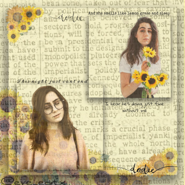 """🌻☀️o p e n☀️🌻  Hi! This is a new little edit.   Person: Dodie Clark Aesthetic: Sunflowers Time taken: Literally an hour lol Time: 2am 3/24/20 Song: Just fine by Dodie (a lofi breakup song)  I really think you guys should check out Dodie she is a really good singer lol.   Hashtags: #dodie #dodiedoodle #dodieclark #dodieyellow #dodieclarkedit #dodieedit #freetoedit   Squad thingy To join """"🌺"""" To leave """"🥀"""" Changed username """"🌻""""  Thanks guys see y'all later! 🌻☀️✨🌙🌕💛🐤🐠🏷️🟨🟡⭐🌟🌠⚡🐥🐝🍋"""