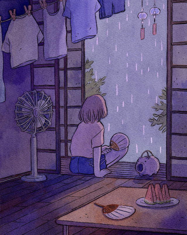 Good morning cutis 🧸🖤   #japan #art #night #sky #aesthetic #purple #anime #girl