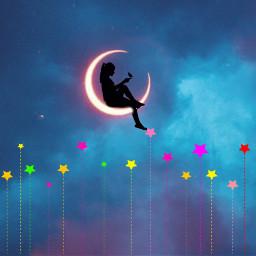 freetoedit silhouette moon stars night