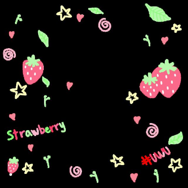 #soft #uwu #strawberry #cute #tiny #drawing #leaf #stars #hearts
