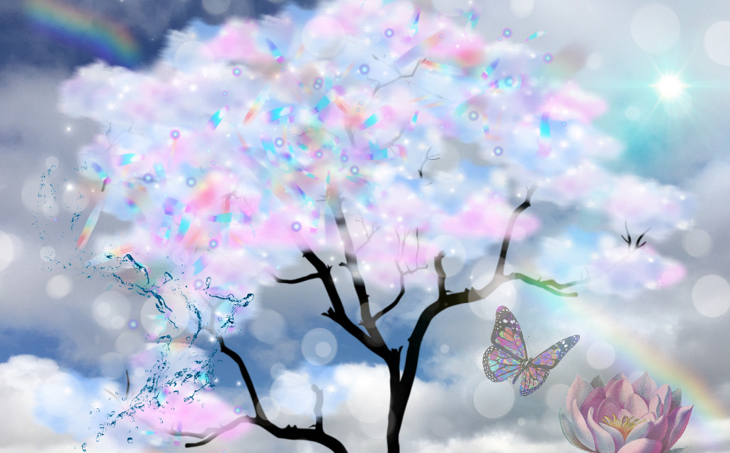 #freetoedit #tree #rainbow #butterfly #flower #splash