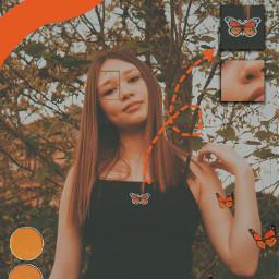 freetoedit orangeaesthetic orange butterfly edit