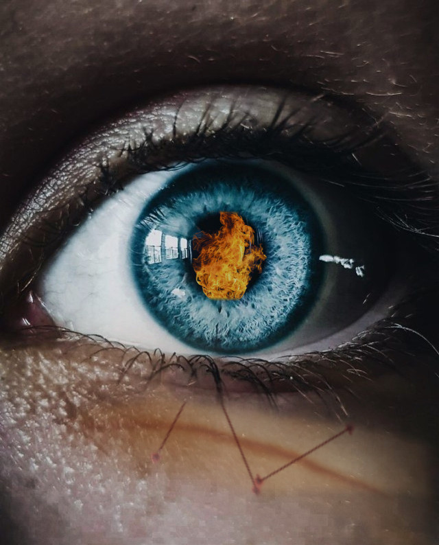 #freetoedit #fire #eye #scar #scary #blue #why #interesting #photo