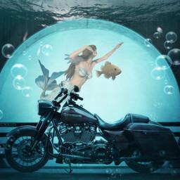 freetoedit motorcycle harleydavidson mermaid underwater