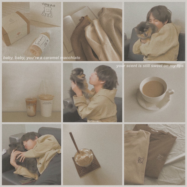 #bts #v #taehyung #pastel #brown #beige #coffee #yeontan #dogs #cafe #aesthetic #instagram #minimalism #cute #mornings #collage #moodboard