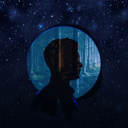 freetoedit forest sillouette man stars ircsilhouette silhouette createfromhome stayinspired
