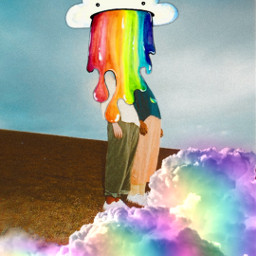 freetoedit puke rainbow cloud colour