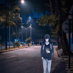 anime realistic night phone shadow freetoedit