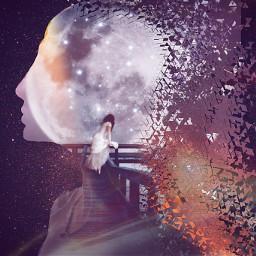 moon moonlight girl dreamy dreams freetoedit