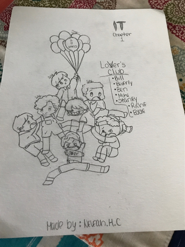 Ok sooooo i drew this and i wanted to show yall Yes i am still on break, i just wanted to show you guys what i drew Anyways this is a Losers' club! I did get a reference No i did not trace No i did not copy off I only used it as a reference (the picture :>) so yEa (Richie is my pfp😫) Richie is a cLown🤡✋ but funny af- and i ship him with Eddie- no oNe eLse Babie Stanley and Eddie are funny af Awh and Soft Ben :( i hated when Henry bullied him >:( and i love when Billy stutters and He was sad when Georgie died :( and Beverly :( IM GLAD HER DAD DIED >:OOO HE IS A MEANIE AND ABUSIVE AND DONT LET HER HANG OUT W/ BOYS >:V and Mike :( he didnt want to kill the baby goat or idk what it was :( im glad they are friends :> Ok forget me blabaling bye gUys