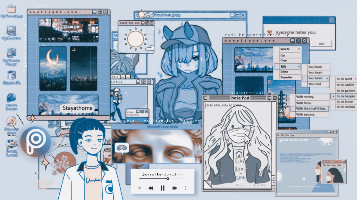 👩💻Corona x computer [stay safe and stay at home] I draw the girl in the note pad hope you like it:) 🚫🙅♀️⛔MOST IMPORTANT: I'm begging you Please DO NOT remix / steal and use this to enter the same challenge and claim it as yours.  My first entry  #freetoedit #blue #vaporwave #aesthetic #computer #ecdesktopwallpapers #desktopwallpapers #stayinspired