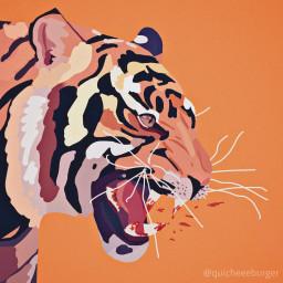 interesting art drawing digitalart procreate tigers animals blood mildgore artwork orange aesthetic myart referenceused cats bigcats freetoedit
