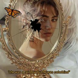 freetoedit mirror portrait broken butterfly