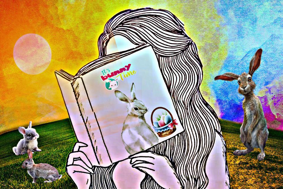 #freetoedit #book #reading #bunnies #rabbits #petsandanimals #remixed #hdreffect #sun #field #itsbunnytime #text #spring #easter