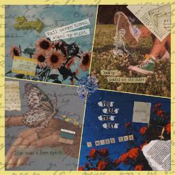 freetoedit vintage aesthetic flowers butterflies scenery