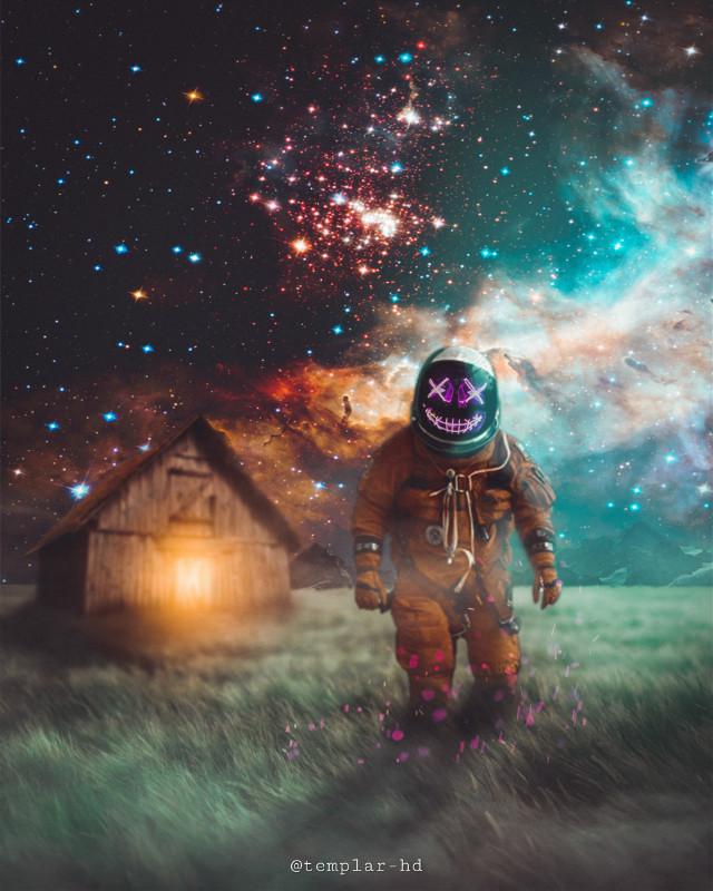 The stranger from the space #templarhd #digitalart #astronaut #neon #surreal #freetoedit