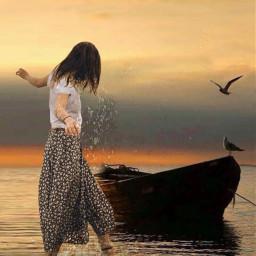 women girl ocean beach boat
