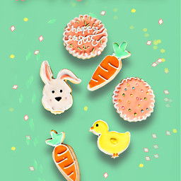 happyeaster cookies carrots bunny chick freetoedit