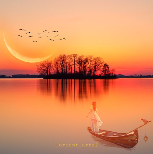 #madewithpicsart #imagination #papicks #sunset #reflection #trees #boat #moon #birds #lake #picsart @picsart #freetoedit