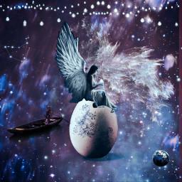 freetoedit egg fairy angel sitting galaxy challenge vote