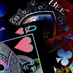 cards queen gamble neon