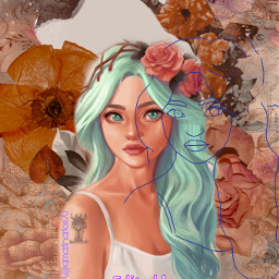 floralsketch picsartchallenge flower vintage animiegirl rcfloralsketch
