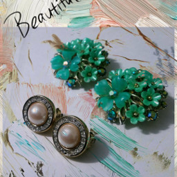 freetoedit vintage earrings green paint