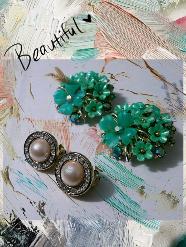 #freetoedit #vintage#earrings#green#paint