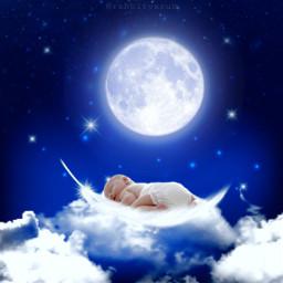 galaxy moon stars baby sleepingbaby freetoedit