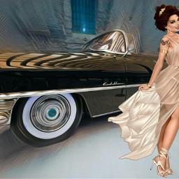 freetoedit pinupart pinupstyle pinupgirlstyle car