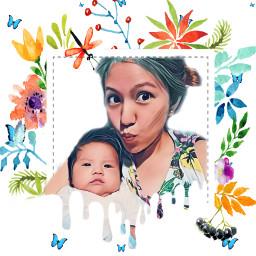 freetoedit motherandchild mother baby flowerframe