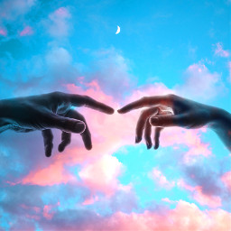 hands cottoncandyskies cottoncandysky moons photomanipulation freetoedit