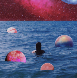 freetoedit galaxy girl ocean sea