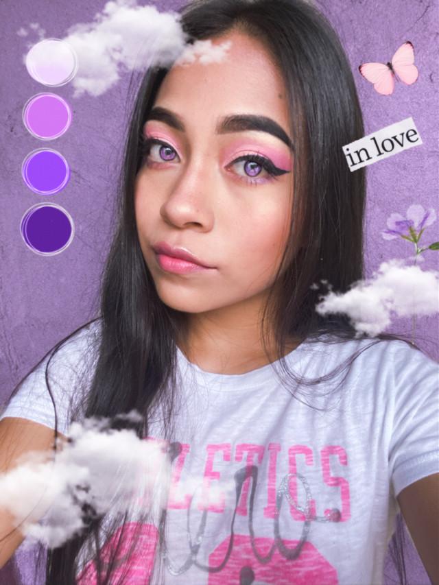 #freetoedit #purpleedit #aesthetic #purple #pink #huely #dinycristii #clouds #model #eyes #girl