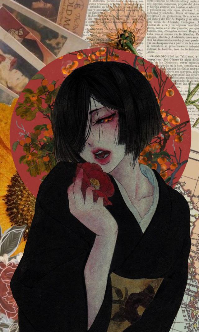 #freetoedit #Japanese #art #red #rose #retro #vintage #drawing #peach #orange #dark #girl #beutiful #rkirmızi #japon #japanesegirl #japonkız #kırmızı #gül #kırmıdıgül #redrose #sanat #tumblr #eskitme #edit #collage #collageart