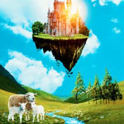 picsart myedit digitalart sheeps floatingisland freetoedit