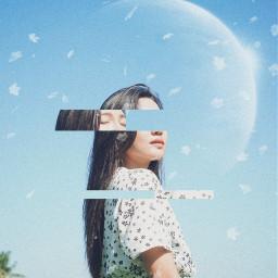 freetoedit girl woman glitchy sky