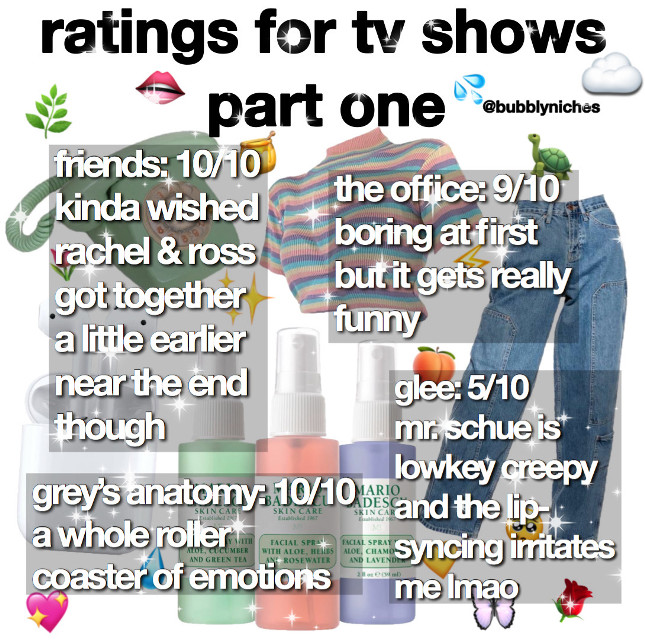 *read me*  caption: this is my opinion and you don't have to like it 🤷‍♀️ i'm still watching all of these shows (except for friends b/c i finished it lol) so i may or may not change my mind lmao. highly doubt it though 👌🤠  edit: niche time: 5:53 pm date: 5/1/20 mood: i need netflix now apps: pinterest, superimpose, phonto, & picsart credits: found the pngs on pinterest  tags: #niche #niches #nichememes #nichememepage #nichepngs #nichepost #nicheacc #tvshows #greysanatomy #friends #theoffice #glee #rating #opinion #png #pngs #freetoedit