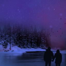 sunset night couple winter december freetoedit