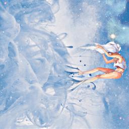 freetoedit painting girl blue skies