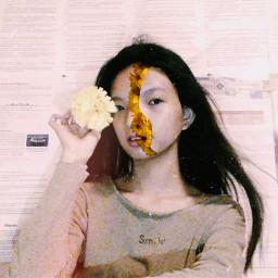 freetoedit flowerphotography floweronface photography newspaperbackground
