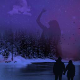 night christmas winter snow couple freetoedit ircsunsetsilhouette sunsetsilhouette