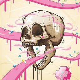 freetoedit skull pills cute background