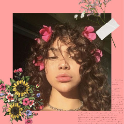 aesthetic flowers art curlyhair handwriting freetoedit
