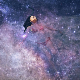 freetoedit floating galaxy doubleexposure surreal