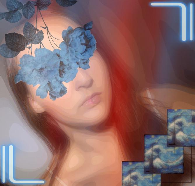 #freetoedit #blue #flowers #neons