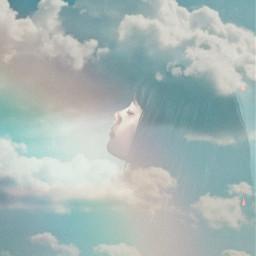 women clouds rainbow be_creative mycreativity freetoedit