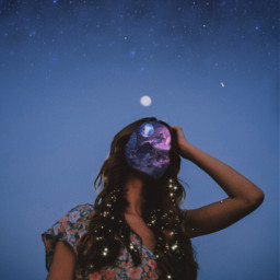 freetoedit girl galaxy space sparkles