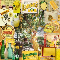 freetoedit picsart collage yellow lemonade