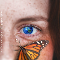 freetoedit earth butterfly crying surreal